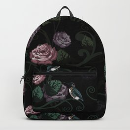 Hummingbird Vines Dark Floral Backpack