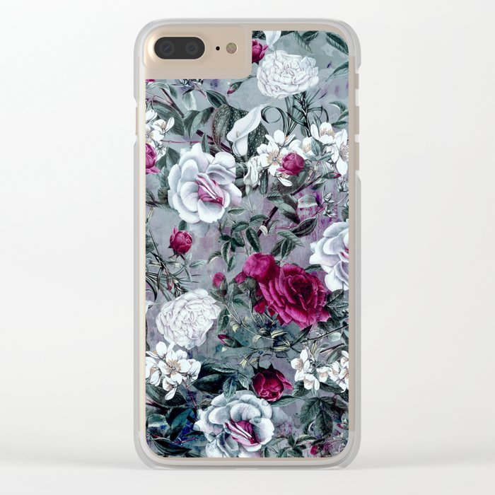 Botanical Flowers Clear iPhone Case