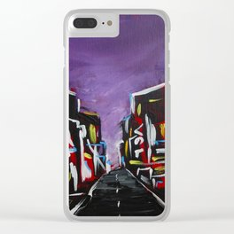 An Empty Street in an Asian City At Night Clear iPhone Case