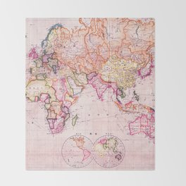 Vintage Map Pattern Throw Blanket