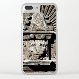 carved wooden door with lion Clear iPhone Case