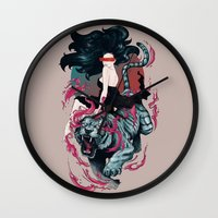 beauty and the beast Wall Clocks featuring Beauty and the Beast by Artemple