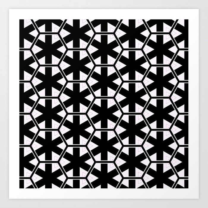 Multi Pattern Black and White Design Art Print