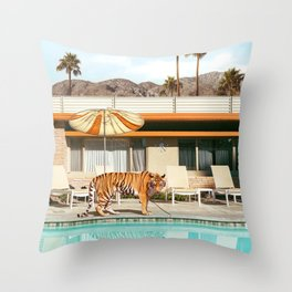 Pool Party Tiger Throw Pillow