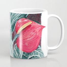 Pop Anthurium Leafs and Flowers Coffee Mug