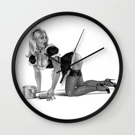 Blondes in Maids Uniform, On her knees cleaning the floor Wall Clock