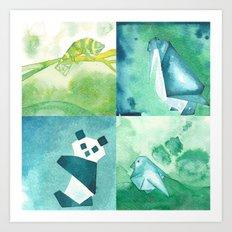 Chameleon, Bird, Penguin and Panda Bear Art Print