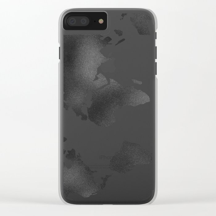 World Map in Textured Black Clear iPhone Case