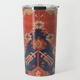 Southwest Tuscan Shapes III // 18th Century Aged Dark Blue Redish Yellow Colorful Ornate Rug Pattern Travel Mug