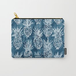 PINEAPPLE STANCE Indigo Boho Watercolor Carry-All Pouch