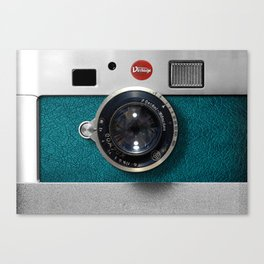 Blue Teal retro vintage camera with germany lens Canvas Print