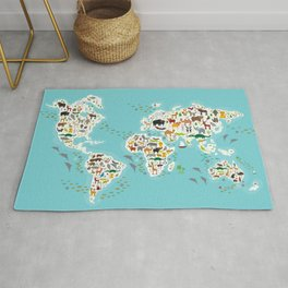 Cartoon animal world map for children and kids, Animals from all over the world Rug