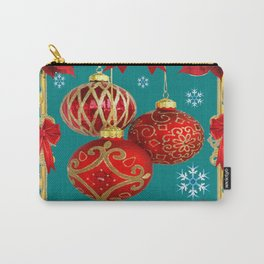 TEAL COLOR RED CHRISTMAS  ORNAMENTS &  POINSETTIAS FLOWER Carry-All Pouch