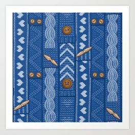 Scarves Knitted Buttoned - Blue Art Print