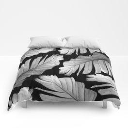 Tropical Gray White Banana Leaves Dream #1 #decor #art #society6 Comforters