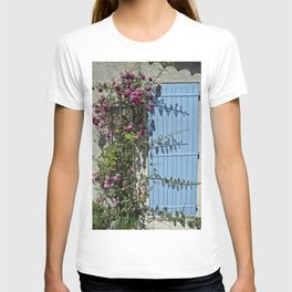 Blue door pink flowers - Provence, France T-shirt