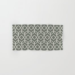 Green Creamy White Geometric Teardrop Pattern 2021 Color of the Year Contemplative and Whitewisp Hand & Bath Towel
