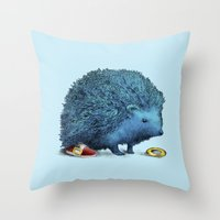 sonic Throw Pillows featuring Sonic by Eric Fan