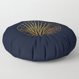 The golden compass- maritime print with gold ornament Floor Pillow