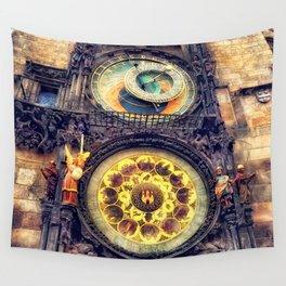 Prague Clock Orloj watercolor Wall Tapestry