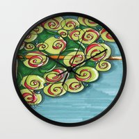 plant Wall Clocks featuring plant by Onde di Tela by Antonella Franco