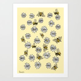 Busy bees and blooming daisies Art Print