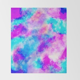 Modern hand painted neon pink teal abstract watercolor Throw Blanket