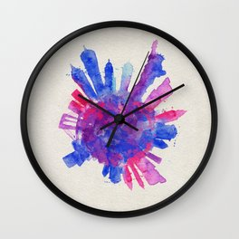 New York City Colorful Skyround / Skyline Watercolor Painting Wall Clock