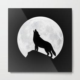 Howling Wolf - Moon Metal Print