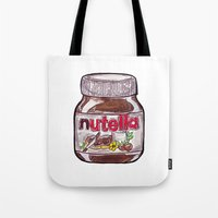 nutella Tote Bags featuring Nutella by Snack Paintings