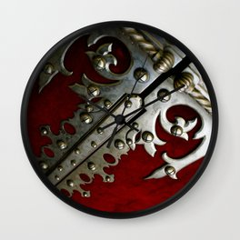 Photograph Red and Silver Gothic Abstract Portuguese Door Wall Clock