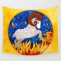 aries Wall Tapestries featuring Aries by Sandra Nascimento