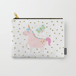 Pink & Gold Glitter Unicorn Carry-All Pouch