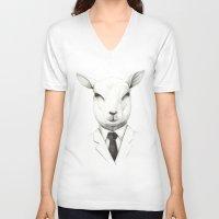 lamb V-neck T-shirts featuring Lamb by David Cristobal