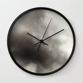 Silhouette of An Airplane on a Dreary Day Wall Clock
