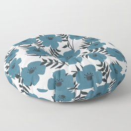 Blue Flowers with Banana Leaves Floor Pillow