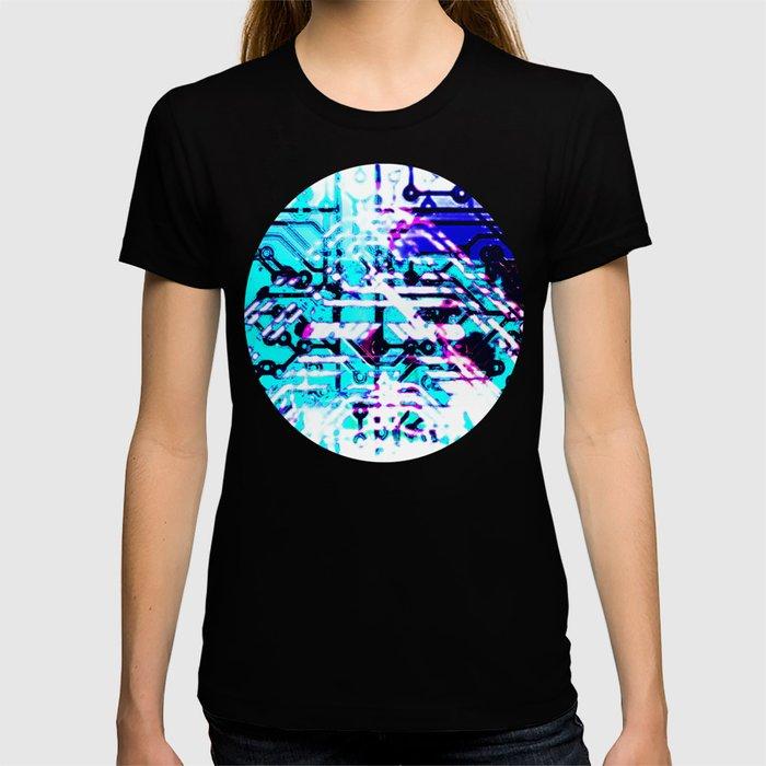 circuit board blue T-shirt