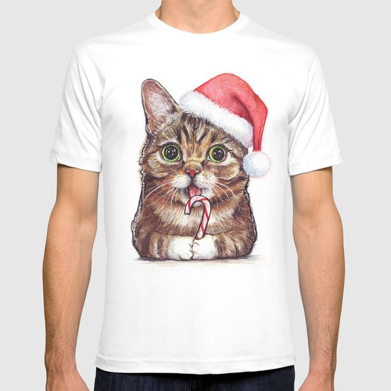 Cat in Santa Hat with Candy Cane T-shirt