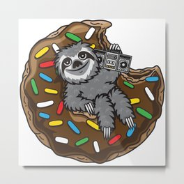 Sloth choco donut Metal Print