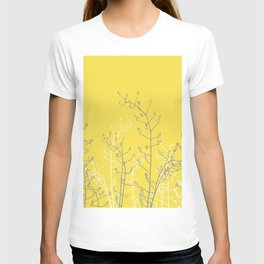 Abstract Flower Branches on Illuminating Yellow T-shirt