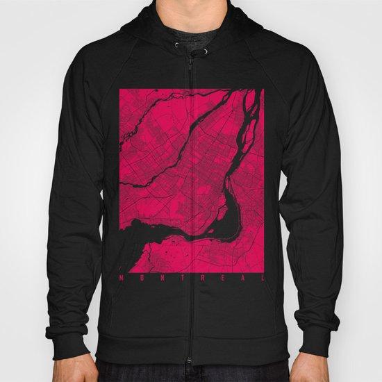 Montreal map raspberry Hoody