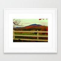 alisa burke Framed Art Prints featuring Burke Mountain - Darling Hill and fields.  by FlatlandersViewOfVT