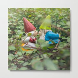 First Kiss - Garden Gnome Metal Print