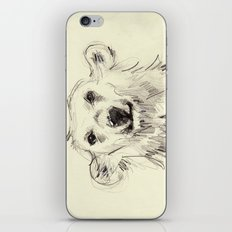 Polar Bear Smiling Black and White iPhone & iPod Skin