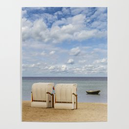 Idyllic Baltic Sea with typical beach chairs Poster