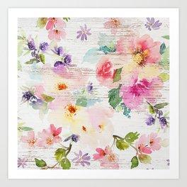 Custom Watercolor Boho Floral With Wood Pattern Art Print