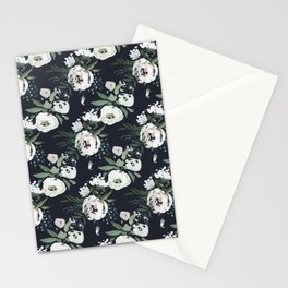 Blush pink white green black watercolor modern floral Stationery Cards