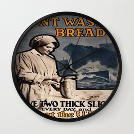 Vintage poster - Don't Waste Bread Wall Clock