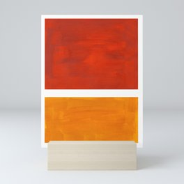 Burnt Orange Yellow Ochre Mid Century Modern Abstract Minimalist Rothko Color Field Squares Mini Art Print