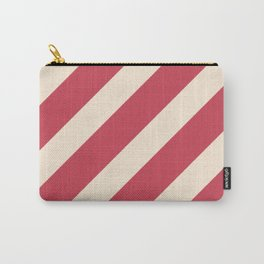Antique White and Brick Red Stripes Carry-All Pouch